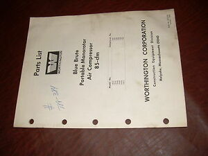 Worthington Air Compressor Blue Brute 85 Cfm Monorotor Pump Parts List Manual