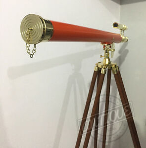 New Year Double Barrel Lens Sun Telescope With Stand Wood Tripod Standing Ho