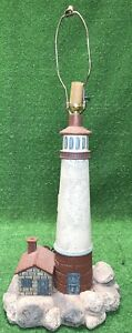Vintage Large 34 Maritime Plaster Lighthouse Table Lamp Light Ocean Coastal