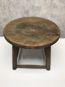 Vintage Primitive Wood Farmhouse Round Milking Stool Worm Hole Top