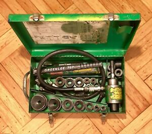 Greenlee 7306 Knockout Punch Driver Set Case Extra Knockouts Hand Pump 767