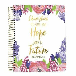 I Have Plans Give Hope Future Purple Floral 7x9 18 month Agenda Planner