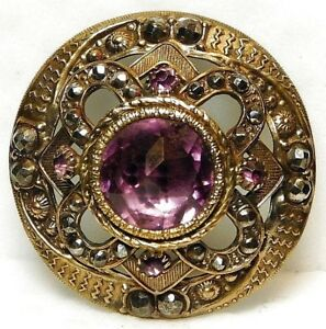 Large Antique Button Amythyst Glass Jewel In Pierced Brass With Cut Steels C87