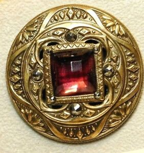 Large Antique Gay 90 S Button Ornate Pierced Brass Jewel With Cut Steels D95