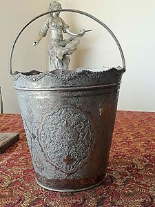 X Large Antique Solid Silver Persian Esfahan Handled Ice Bucket Or Wine Bucket