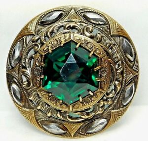 X Large Antique Button Gay 90 S Green Jewel In Pierced Brass With Cut Steel 86a2