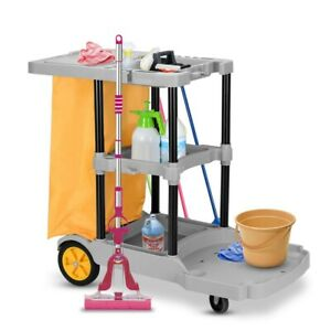 Janitorial Cleaning Cart 3 Shelves Storage Housekeeping Utility Trolley Cart