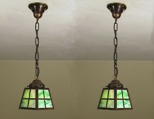Restored Pair Of Antique Mission Porch Light Fixtures Green Slag Glass