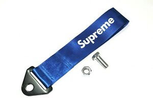 Jdm High Strength Supreme Racing Tow Strap Front Rear Bumper Towing Hook Blue