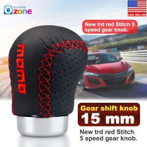 Universal Momo Car Gear Shift Knob Leather Red Stitch Manual Shift Lever Stick