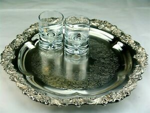 Sheridan Silver Footed Buffet Tray Cocktail Serving Platter 14 W Grapes
