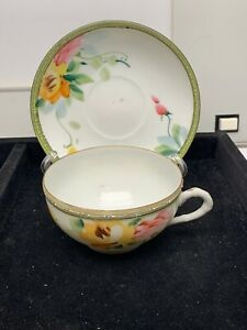 Vintage Nippon Hand Painted Tea Cup And Saucer Lt 357