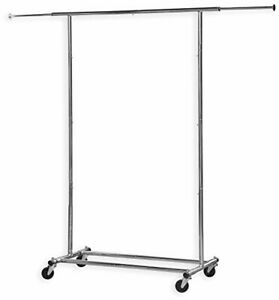 Clothing Garment Rack Heavy Duty Steel Chrome W Casters Wheelers Collapsible