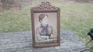 Antique French Bronze Small Picture Photo Frame Lord Taylor Ny Bow Top Nice
