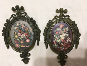 Set Of 2 Small Ornate Oval Metal Picture Frame Flowers Made In Italy 6 X 4