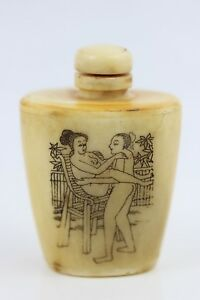 Antique Chinese Erotic Snuff Bottle Top Hand Carved Figures Bovine Bone 7 5cm