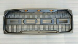 For 2009 2014 Ford F150 Raptor Style Abs Grill W Led Amber Lights Black
