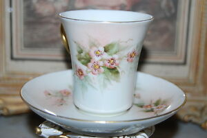 Superb Haviland French Limoges Hand Painted Flowers Large Chocolate Cup