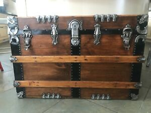 Antique 1860s Flat Top Steamer Trunk Completely Refurbished And Fabric Lined