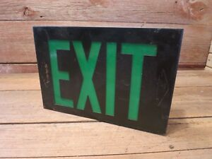 Vintage Metal exit Sign Green Glass Ceiling Or Wall Mount
