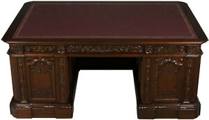 Reproduction Carved Mahogany Resolute Presidents Large Desk Office Leather Top