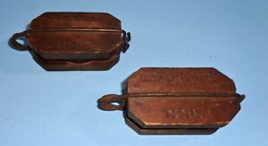 2 Primitive Old Small Wood Metal Pulleys No 9 Farm Barn Tool Rope Holder Lift