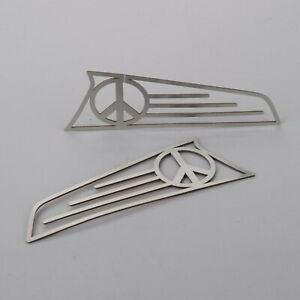 1970 1979 Vw Beetle Thing Stainless Front Turn Signal Covers Polished Peace Sign