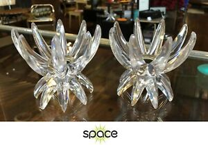 Pair Of Retro Atomic Mid Century Acrylic Starburst Candle Holders West Germany