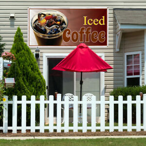 Vinyl Banner Sign Iced Coffee Restaurant Cafe Bar Style T Marketing Advertising