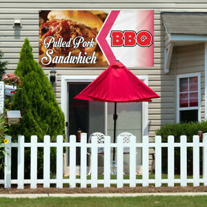 Vinyl Banner Sign Pulled Pork Sandwich Bbq Restaurant Cafe Outdoor Brown