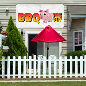 Vinyl Banner Sign Bbq Pig Out Restaurant Cafe Bar Marketing Advertising White