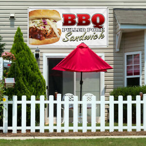 Vinyl Banner Sign Bbq Pulled Sandwich Restaurant Cafe Style T Outdoor White