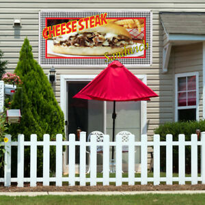 Vinyl Banner Sign Cheesesteak Sandwich Restaurant Cafe Bar Sandwich Brown