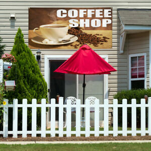 Vinyl Banner Sign Coffee Shop With Coffee Background Marketing Advertising