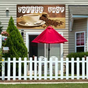 Vinyl Banner Sign Coffee Shop With Coffee Background Style T Coffee Shop Brown