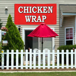 Vinyl Banner Sign Chicken Wrap Food Fair Restaurant Marketing Advertising Red