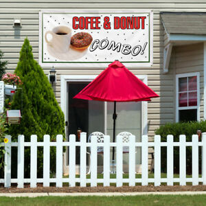 Vinyl Banner Sign Coffee And Donut Combo Restaurant Cafe Bar Coffee White