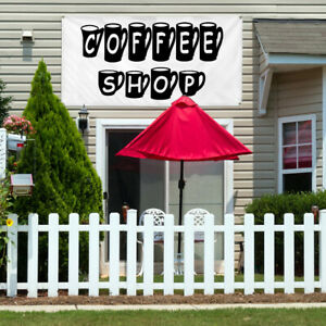 Vinyl Banner Sign Coffee Shop With Coffee Mugs Marketing Advertising Black
