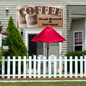 Vinyl Banner Sign Coffee Fresh Delicious Restaurant Cafe Marketing Advertising