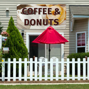 Vinyl Banner Sign Coffee Donuts Restaurant Cafe Bar Marketing Advertising