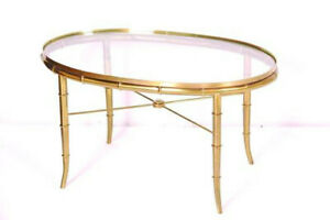 Hollywood Regency Brass Bamboo Glass Oval Coffee Or End Table By Mastercraft