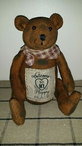Welcome To My Happy Place Bear Doll Grubby Primitive New