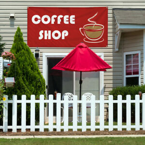 Vinyl Banner Sign Coffee Shop 1 Restaurant Food Marketing Advertising Red