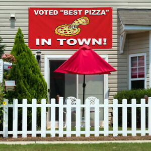 Vinyl Banner Sign Voted best Pizza In Town Red Pizza Slice Pizza White
