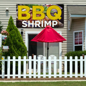 Vinyl Banner Sign Bbq Shrimp Restaurant Food Marketing Advertising Yellow