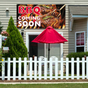 Vinyl Banner Sign Bbq Coming Soon Restaurant Food Marketing Advertising Brown