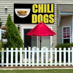 Vinyl Banner Sign Chili Dogs 1 Style B Chili Dogs Marketing Advertising White