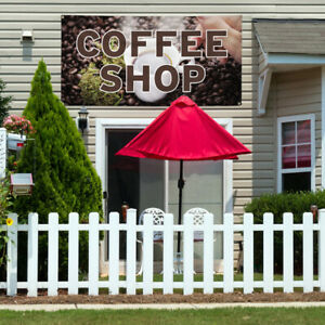 Vinyl Banner Sign Coffee Shop 1 Style A Outdoor Marketing Advertising Brown