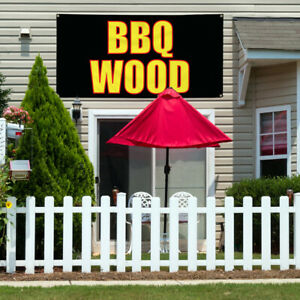 Vinyl Banner Sign Bbq Wood Restaurant Food Marketing Advertising Black