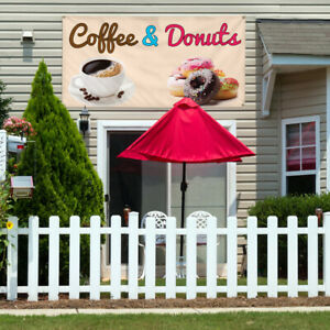 Vinyl Banner Sign Coffee Donuts 1 Style A Marketing Advertising White grey